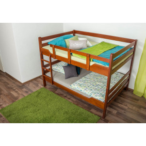 Adult bunk beds ' Easy Premium Line ' K16/n, head and foot part straight, solid beech wood cherry tree color - lying surface: 140 x 200 cm, divisible