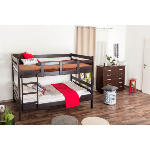 Bunk beds ' Easy premium line ' K16/n, head and foot part straight, solid beech wood chocobrown - lying surface: 140 x 200 cm, divisible