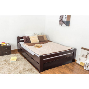 "Youth bed ""Easy Premium Line"" K4 incl. 2 underbed drawers and 1 cover plate, solid beech wood, clearly varnished - 140 x 200 cm"