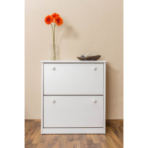 2 Pull down drawer Shoe cabinet 005, solid pine wood, white - H80 x W72 x D29 cm