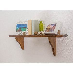 Wall shelf 006, solid pine wood, oak finish - H24 x W80 x D20 cm
