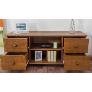 TV-cabinet solid, natural pine wood 002 - Dimensions 55 x 136 x 47 cm  (H x W x D)