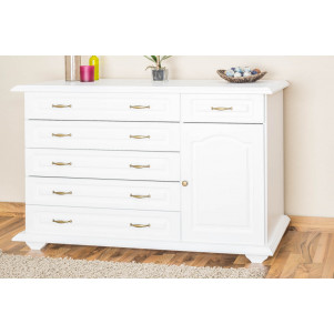 6 Drawer, 1 Door Sideboard Pipilo 12, solid pine wood, white varnished - H88 x W139 x D54 cm