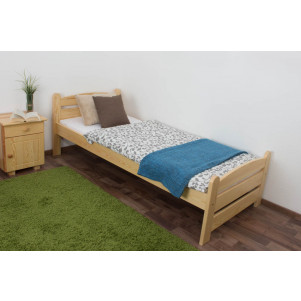 Single bed / Guest bed 84A, solid pine wood, clear finish - 80 x 200 cm