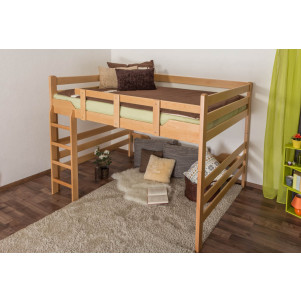 Adult bunk bed ' Easy Premium Line ® ' K15/n, solid beech wood natural, convertible - lying area: 160 x 200 cm