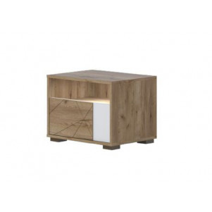 Bedside Table Manase 03, Colour: Oak Brown/Gloss Lacquered white - 41 x 55 x 41 cm (H x W x D)