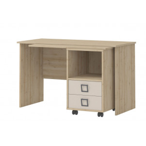 Children's Room - Desk Benjamin 29, Colour: Beech/Cream - 76 x 125 x 60 cm (H x W x D)