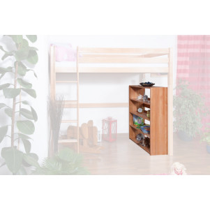 Bookcase Dominik, solid beech wood, clearly varnished, accessory for High Sleeper Dominik