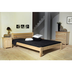 Single bed / Guest bed A2, solid pine wood, clearly varnished, incl. slatted frame - 140 x 200 cm