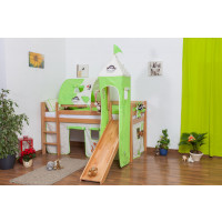 Midsleeper / Children's bed Andi with slide and tower, solid beech wood, clearly varnished, incl. slatted frame - 90 x 200 cm