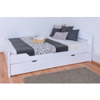 Single / Guest bed ' Easy Premium Line ® ' K5,  with 2 drawers and 2 cover panels, 140 x 200 cm Beech solid wood white lacquered, incl. slats