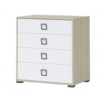 Child's room dresser Benjamin 06, Colour: Ash/White - Dimensions: 89 x 84 x 56 cm (H x W x D)