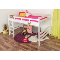 Bunk bed ' Easy Premium Line ® ' K15/n, solid beech wood white lacquered, convertible - lying area: 140 x 200 cm