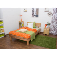 Low foot end bed / Solid wood bed Wooden Nature 01, heartwood beech, oiled - 120 x 200 cm