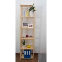 Tall 6-Tier Shelving Unit Junco Tallboy 54D, solid pine, clearly varnished - H200 x W50 x D30 cm