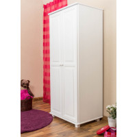 Wardrobe pine solid wood painted white 007 - Dimensions 190 x 80 x 60 cm (H x W x D)