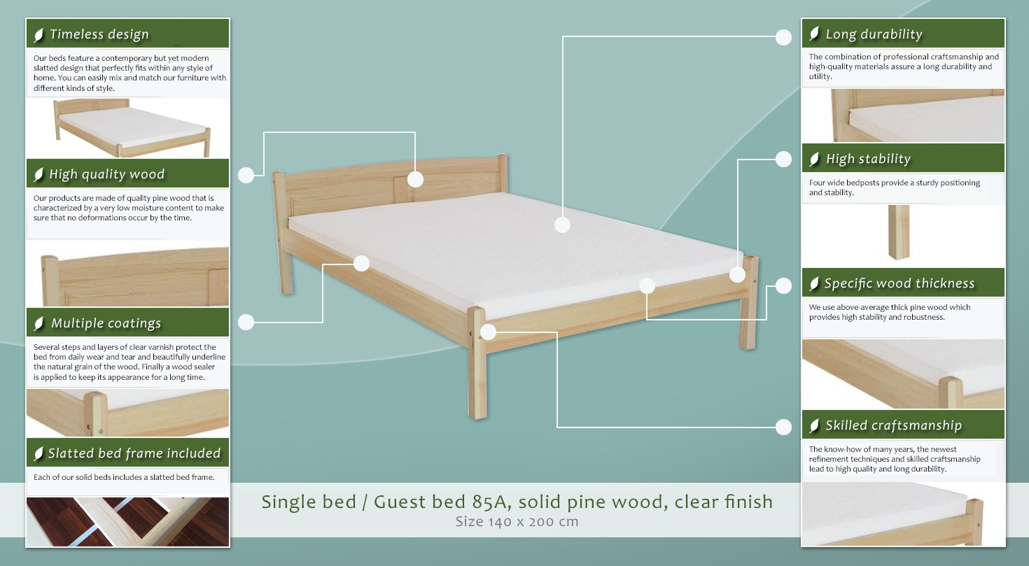 Single bed / Guest bed 85A, solid pine wood, clear finish, incl ...