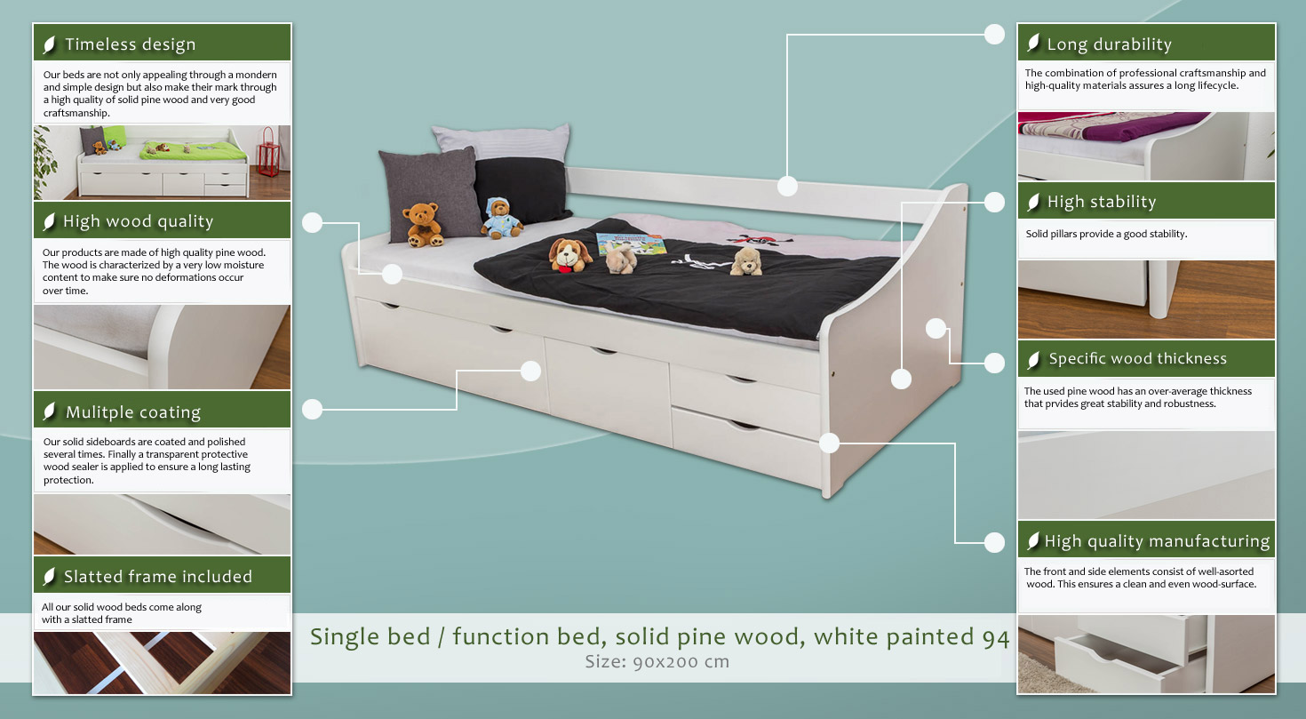 Single Bed Storage Bed Solid Pine Wood In A White Paint